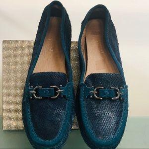Donald J. Pliner Peacock Blue Snakeskin Loafer